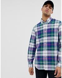 Chemise à manches longues écossaise bleu marine et vert Polo Ralph Lauren