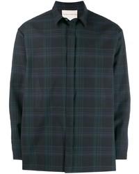Chemise à manches longues écossaise bleu marine et vert Stephan Schneider