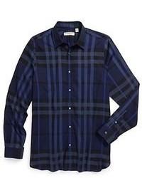 Chemise à manches longues écossaise bleu marine