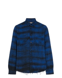 Chemise à manches longues écossaise bleu marine Amiri