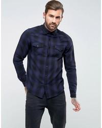 Chemise à manches longues écossaise bleu marine ASOS DESIGN