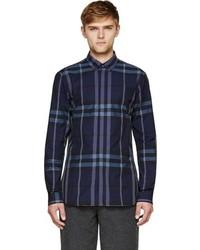 Chemise à manches longues écossaise bleu marine Burberry