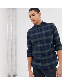 Chemise à manches longues écossaise bleu marine Burton Menswear