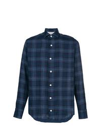 Chemise à manches longues écossaise bleu marine Eleventy