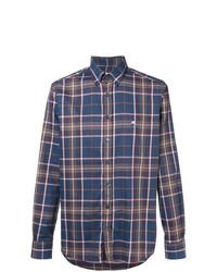 Chemise à manches longues écossaise bleu marine Etro