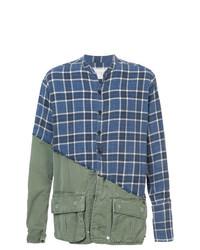 Chemise à manches longues écossaise bleu marine Greg Lauren