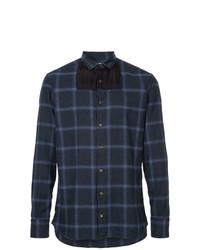 Chemise à manches longues écossaise bleu marine Kolor