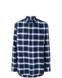Chemise à manches longues écossaise bleu marine Marcelo Burlon County of Milan