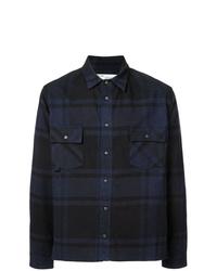 Chemise à manches longues écossaise bleu marine Off-White