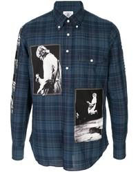 Chemise à manches longues écossaise bleu marine Takahiromiyashita The Soloist