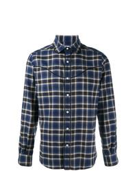 Chemise à manches longues écossaise bleu marine Valentino