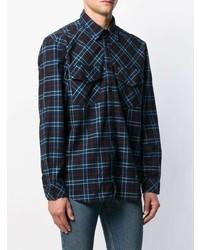 Chemise à manches longues écossaise bleu marine Diesel
