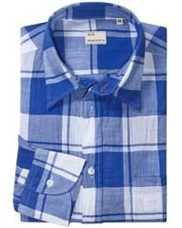 Chemise à manches longues écossaise bleue