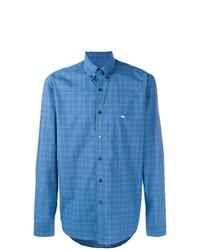 Chemise à manches longues écossaise bleue Etro