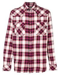 Chemise à manches longues écossaise fuchsia Diesel