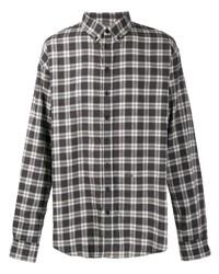 Chemise à manches longues écossaise gris foncé DSQUARED2