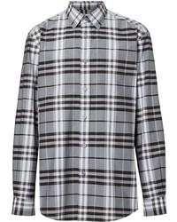 Chemise à manches longues écossaise grise Burberry