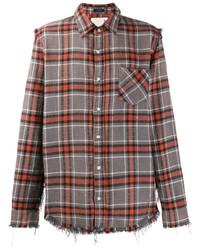 Chemise à manches longues écossaise grise R13