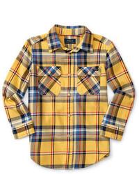 Chemise à manches longues écossaise jaune