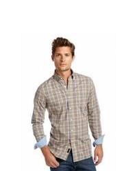 Chemise à manches longues écossaise marron