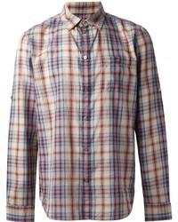 Chemise à manches longues écossaise multicolore