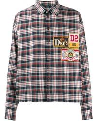 Chemise à manches longues écossaise multicolore DSQUARED2