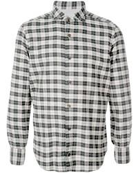 Chemise à manches longues écossaise noire et blanche Eleventy