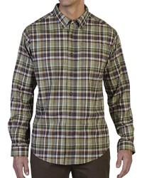 Chemise à manches longues écossaise olive