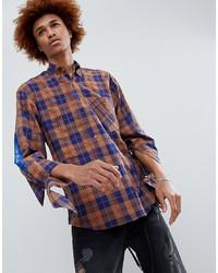 Chemise à manches longues écossaise orange D-Antidote
