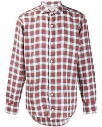 Chemise à manches longues écossaise rouge et blanc Eleventy