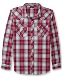 Chemise à manches longues écossaise rouge et blanche