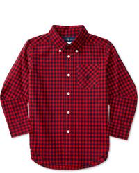 Chemise à manches longues écossaise rouge et bleue marine