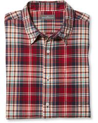 Chemise à manches longues écossaise rouge et bleue marine L.L. Bean