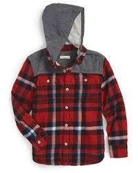 Chemise à manches longues écossaise rouge et noir