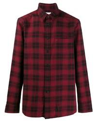 Chemise à manches longues écossaise rouge et noir Calvin Klein