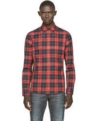 Chemise à manches longues écossaise rouge et noir Givenchy