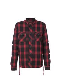 Chemise à manches longues écossaise rouge et noir Haculla
