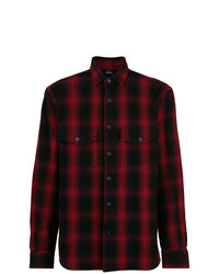 Chemise à manches longues écossaise rouge et noir Marcelo Burlon County of Milan