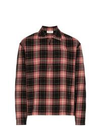 Chemise à manches longues écossaise rouge et noir Saint Laurent