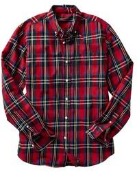 Chemise à manches longues écossaise rouge