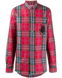 Chemise à manches longues écossaise rouge Alexander McQueen