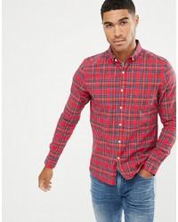 Chemise à manches longues écossaise rouge ASOS DESIGN