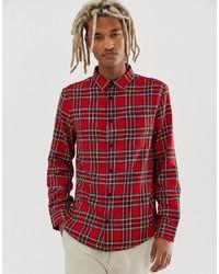 Chemise à manches longues écossaise rouge Bershka