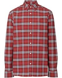 Chemise à manches longues écossaise rouge Burberry