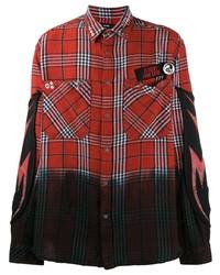 Chemise à manches longues écossaise rouge Diesel