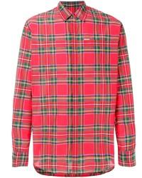 Chemise à manches longues écossaise rouge DSQUARED2