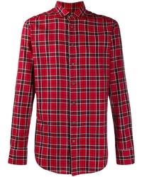 Chemise à manches longues écossaise rouge Etro
