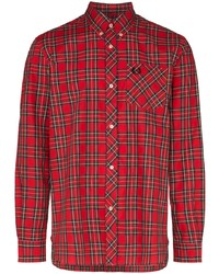 Chemise à manches longues écossaise rouge Fred Perry