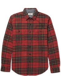 Chemise à manches longues écossaise rouge J.Crew
