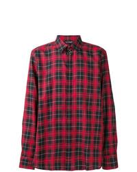 Chemise à manches longues écossaise rouge Neil Barrett